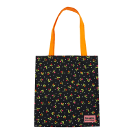 Black Floral Cotton Tote Bag From Deadstock Fabric image