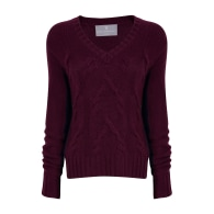 Cable V Neck - Red image