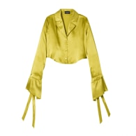 Chartreuse Green Satin Long Sleeve Crop Top image