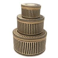 Woven Natural Straw Black Baskets - Set Of 3 image