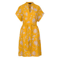 Yellow Floral Sleeveless Dress with Side Slits image