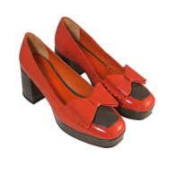 Holiday B - Cocoa and Pumpkin Patent Leather Platform Pumps image