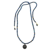 Black Pearls With Evil Eye Dangle Open Ended Necklace image