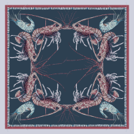 Lobster and Prawn mosaic Large Square Silk Scarf image