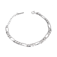 Sterling Silver Flat Figaro Chain Bracelet image