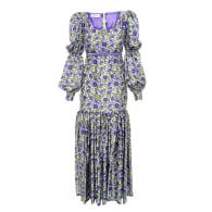 Long purple 'Botanica' print dress image