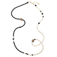 Freshwater Pearls With Obsidian Two Ways Necklace image