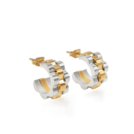 Two-Tone 'Champagne Problems' Timepiece-Link Hoops image