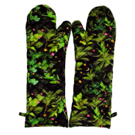 Black Tropical Quilted Oven Mitts image
