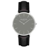 Mykonos Vegan Leather Watch Silver, Grey & Black image