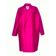 The Babylon Cerise Pure Silk Double Breasted Cocoon Coat image