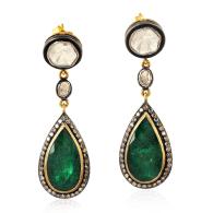14k Gold & 925 Sterling Silver Uncut Diamond Natural Emerald Handmade Jewelry image