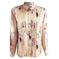 Party Girl People Print Silk Twill Blouse image