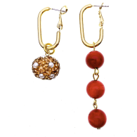 Red Coral With Rhinestones Asymmetric Earrings image