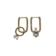 Gold Mini Diamond Ring Charms Hoop Earrings image