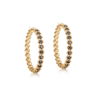Large Deco Black Spinel Hoop Earrings in Yellow Gold Vermeil image