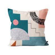 Printed Steps Cushion In Natural, Teal, Pink & Grey image