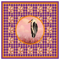Bubble Bird Silk Scarf - 90 X 90 cm image