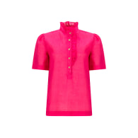 Pink Daisy Frill Front Cotton Blouse image
