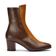 No.16 Curly Wurly Two-Tone Brown Leather Mid-Heel Boots image