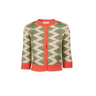 Vera - Green & Cream Argyle Organic Cotton Cardigan image