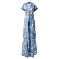 Semi-Casual Silk Dress In Blue Satin Belle Époque image