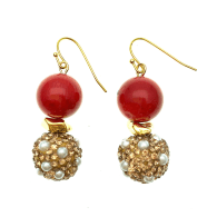 Red Coral With Rhinestones Bordered Pearls Earrings image