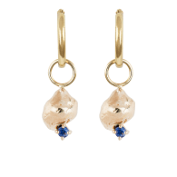 Molten Nugget and Blue Sapphire Earrings image