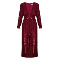 Clara Red Wine Sequin Deep V Neck Midi Dress image