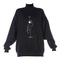 Yin Black Embroidered Women's Turtleneck image