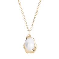 Medium Molten Coral Rock & Vegan Pearl Necklace - Gold image