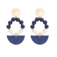 The Abbie Navy Blue & Pearl Upcycled Hand-Crafted Statement Earrings image