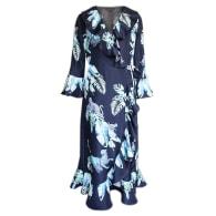 Silk Wrap Dress - Navy With Aqua Jungle Print image