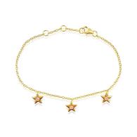 Star Charms Bracelet With White Topaz In 18K Gold Vermeil image