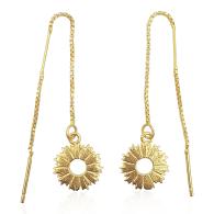 Radial Sunburst Dangling Earrings In 18K Gold Vermeil image