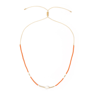 Taylor Pearl & Glass Beaded Necklace - Yellow & Orange image