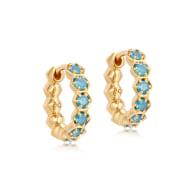 Deco Blue Agate Hoop Earrings in Yellow Gold Vermeil image