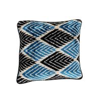 George Blue & Black Velvet Cushion 40 x 40cm image
