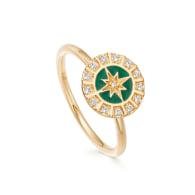 Celestial Green Enamel Astra Ring in Yellow Vermeil image