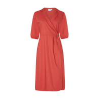 Isabel Wrap Dress With Balloon Sleeves - Aperol image