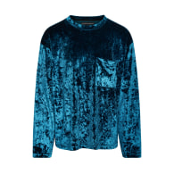 Unisex Crushed Velvet Long Sleeve Top In Teal image