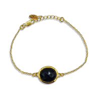 Aissa Black Onyx Bracelet In 18K Gold Vermeil image