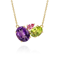 Purple Amethyst Gold Cluster Necklace image