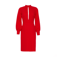 Mira Red Long Sleeve Cut Out Crepe Midi Dress image