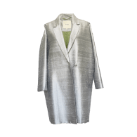 The Babylon Silver Pure Silk Double Breasted Cocoon Coat image