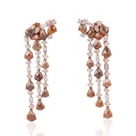 18k Gold Rose Gold Ice Diamond Chandelier Earrings Hanamade Jewelry image