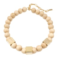 The Kelly Cream Wooden Bead & Gold Cube Necklace image