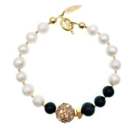 Freshwater Pearls With Obsidian Bracelet image