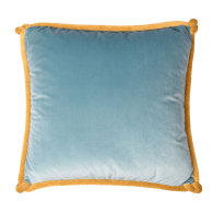 Teal & Ocean Blue Velvet Cushion with Yellow Knotted Piping image