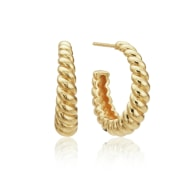 Gold Large Twisted Rope Hoop Earrings image
